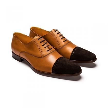 Two Tone Brown Suede Genuine Leathe..