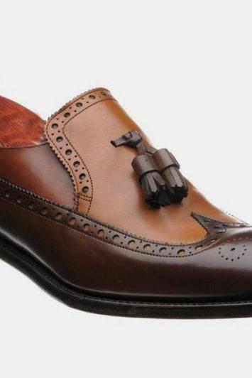 Handmade Men Leather Loafer Shoes, Brown Wing Tip Tassels Shoes