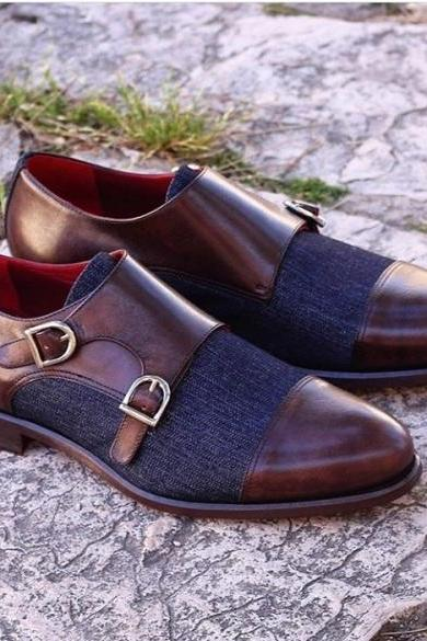 Men's Handmade Brown Blue Denim & Leather Double Monk Shoes
