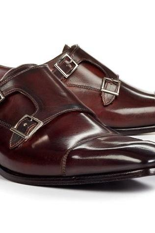 Handmade Double Monk Dark Brown Shoes, Men Formal Dress Shoes Business Shoes