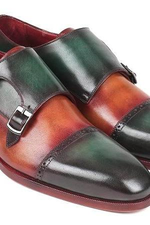 Green Brown Monks Burnished Derby Cap Toe Double Buckle Strap Vintage Leather Handmade Shoes