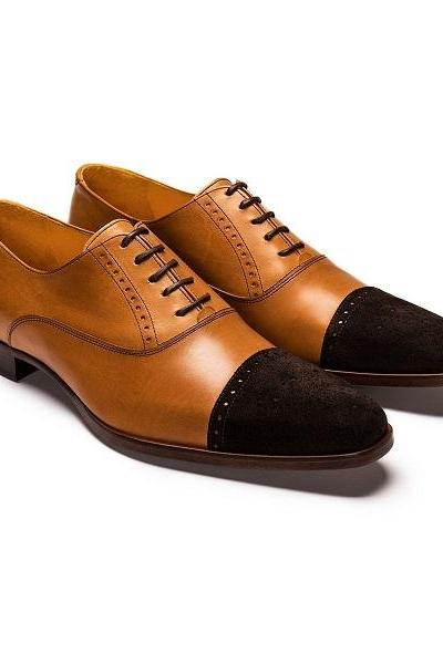 Two Tone Brown Suede Genuine Leather Derby Cap Toe Lace Up Handmade Matching Sole Shoes