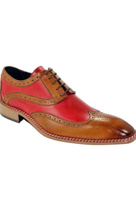 Two Tone Wing Tip Burnished Brogue Toe Red Brown Handmade Genuine Leather Fashion Shoes
