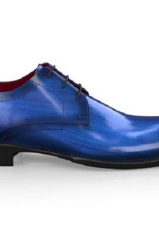 Patina Hand Painted Blue Oxford Real Cowhide Leather Burnished Rounded Derby Toe Lace Up Shoes