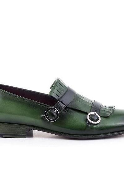 Monk Green Double Buckle Fringed Vintage Leather Burnished Derby Toe Handmade Spectator Shoes