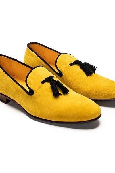 Suede Yellow Loafer Slip On Black Tassel Genuine Leather Handmade Derby Toe Men Shoes