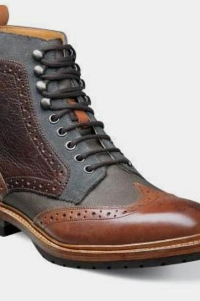 Mens Multicolor Wingtip High Ankle Casual Wear Desert Roker Boot