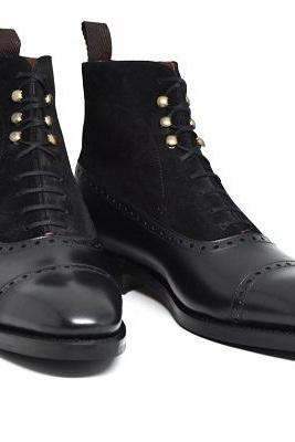 Ankle High Black Leather and Suede Casual Lace Up Boot, Men Cap Toe boot