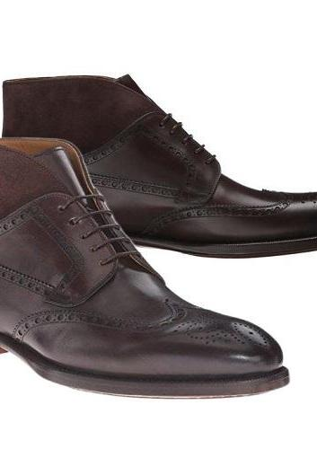 Men Dark Brown Leather Boot, Handmade Brogue Wing Tip Formal Boots