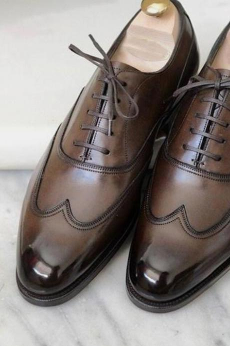 Classic Calf Skin Dark Brown Men's Wing Tip Style Lace Up Wedding Wear Hand Stitch Formal Men Shoes