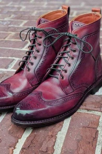 Mens Formal Wear Oxford Ankle High Burgundy Leather Lace Up Brogue Boot