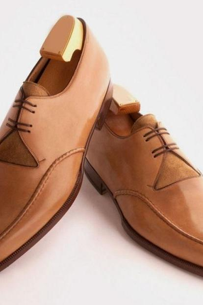 Handmade Best Brown Color Leather Lace Up Fancy Formal Shoes