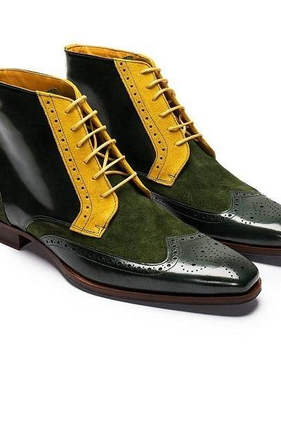 Wingtip Multi Color Genuine Suede Leather Brogue Toe Spectator Handmade Fashion Ankle High Boots