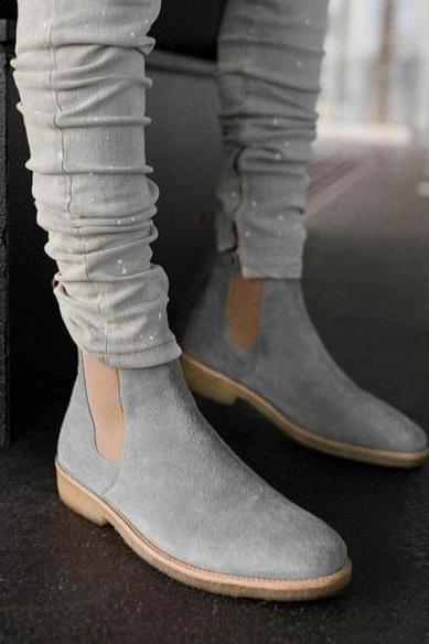 Handmade Men's Gray Suede Chelsea Boot, Crepe Sole High Ankle Fashion Formal Boot