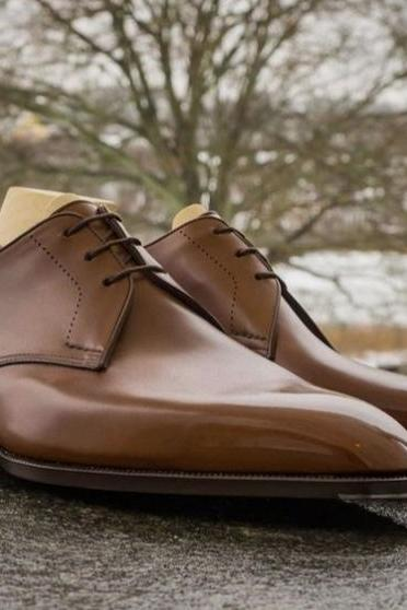 Handmade Mens Coffee Brown Decent Wear Outfit Derby Lace Up Shoes