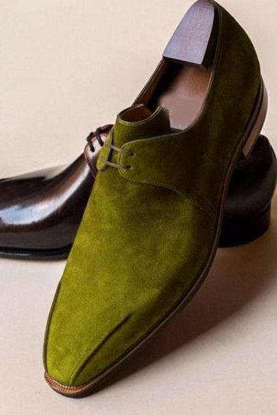 Custom Made Olive Suede Chukka Style Lace Up Handmade Dress Shoes